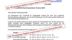 """Logistik: Workshop """"praktische Abschlussprüfung"""" Sommer 2020 entfällt"""