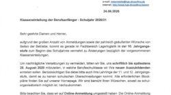 Logistikberufe: Klasseneinteilung der Berufsanfänger – Schuljahr 2020/2021