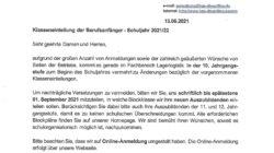 Klasseneinteilung der Berufsanfänger – Schuljahr 2021/22